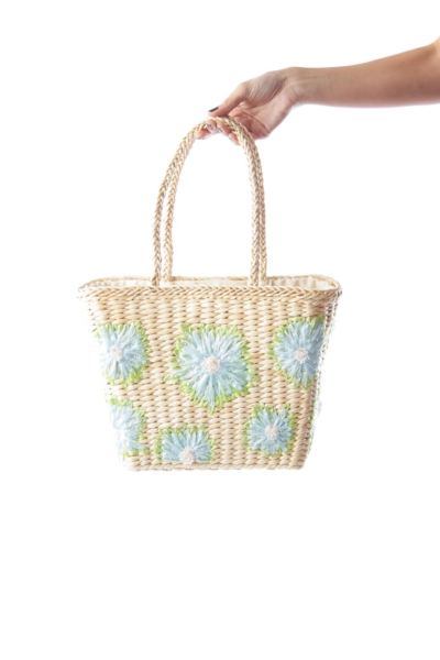 Embellished Straw Tote