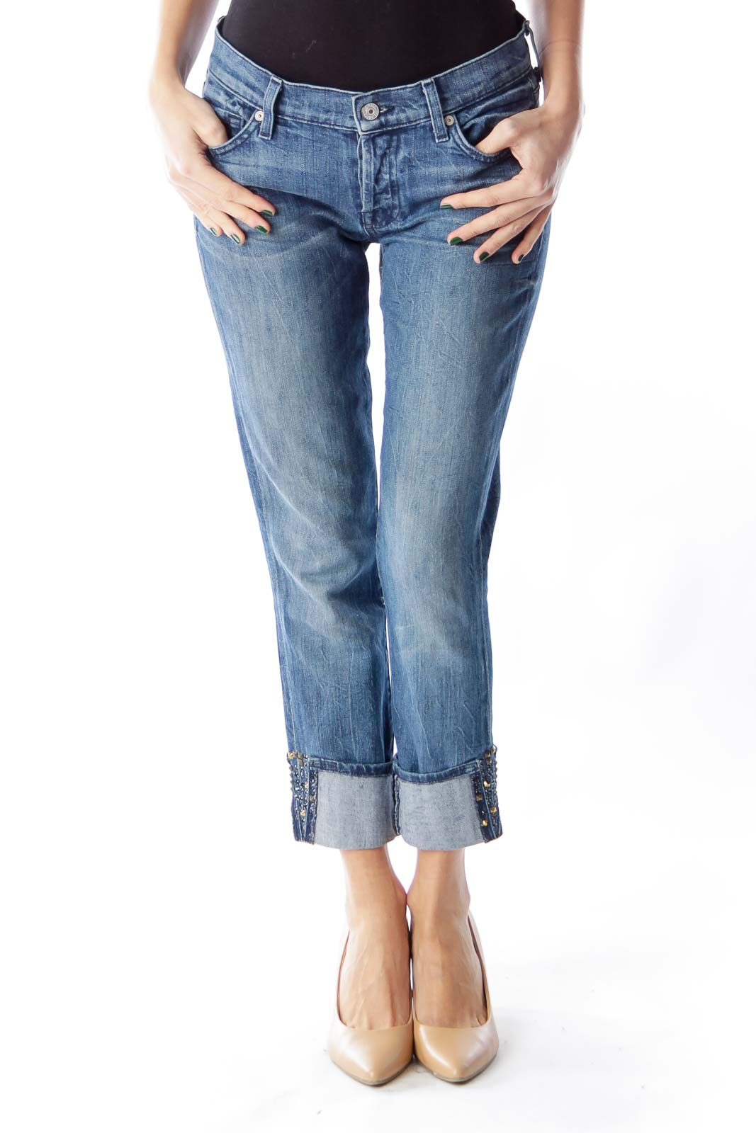 Blue Washed Cropped Jeans