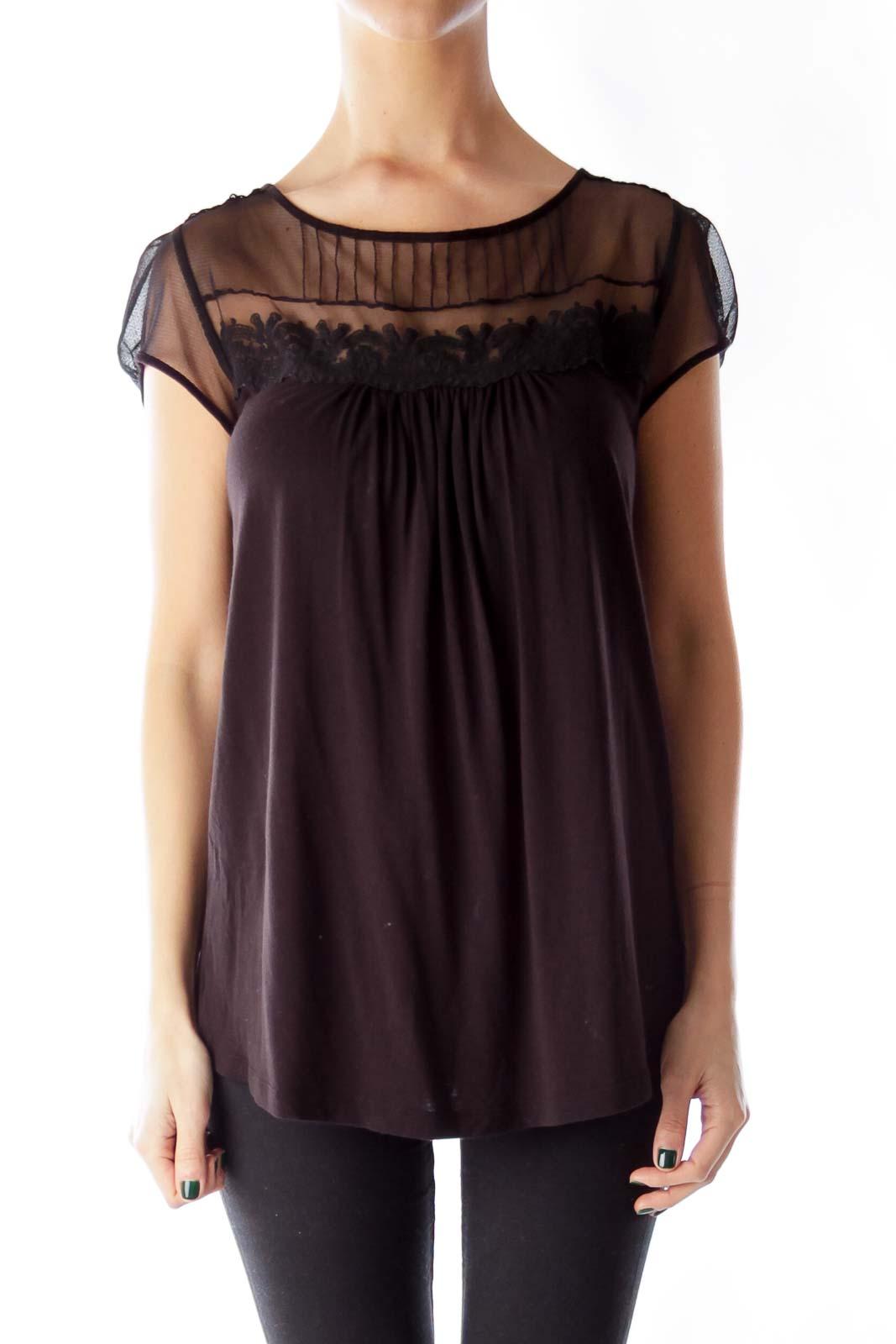 Black Lace Detail Shirt