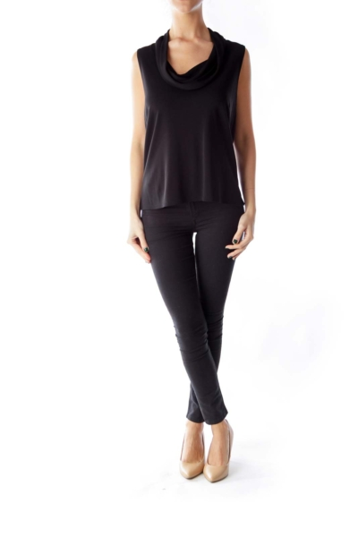 Black Cowl Neck Shirt