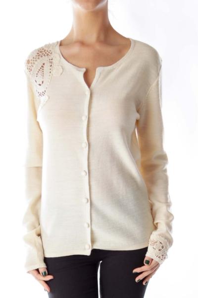 Beige Crochet Detail Cardigan