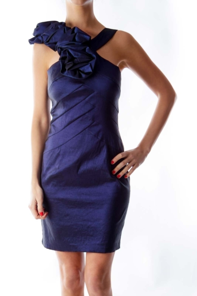 Blue Satin Ruffle Dress