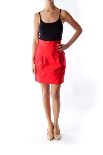 Red Front Pocket Skirt