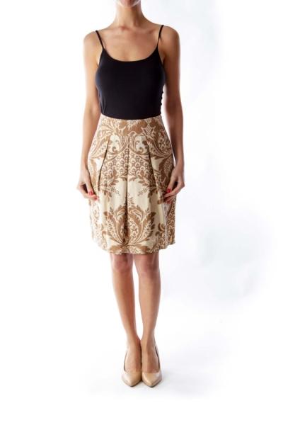 Beige Print Skirt
