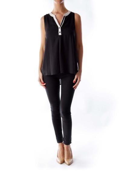 Black & White V Neck Top