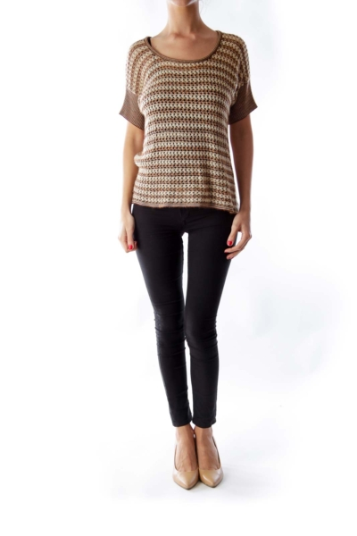 Brown & Beige Tricot Shirt