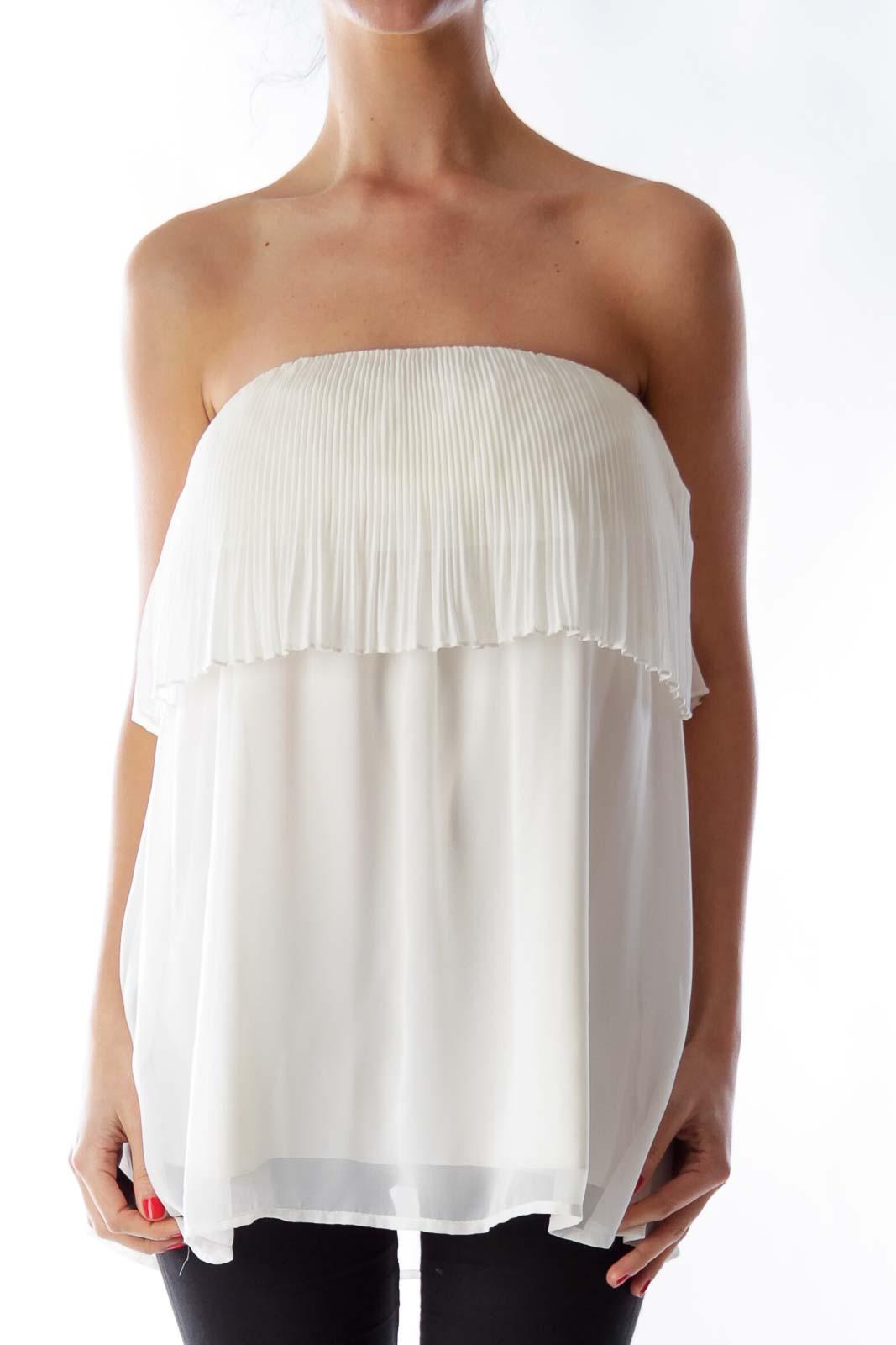 Beige Pleated Mini Dress