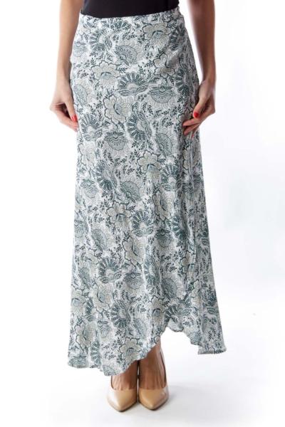 Green Print Wrap Skirt
