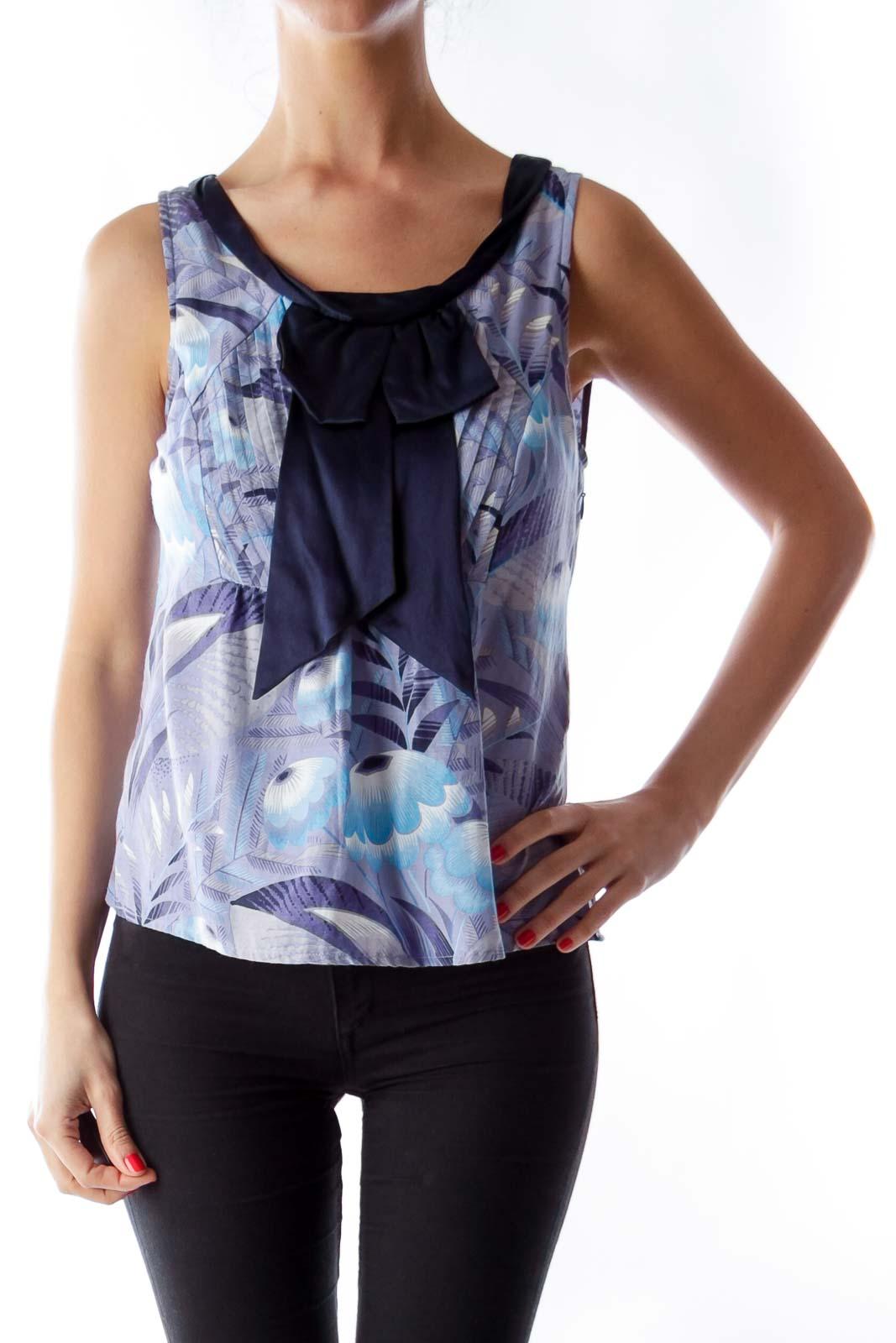 Blue Print Bow Shirt