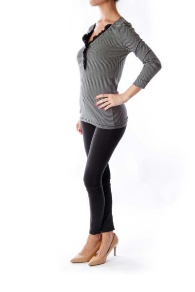 Black & White Stripe V Shirt