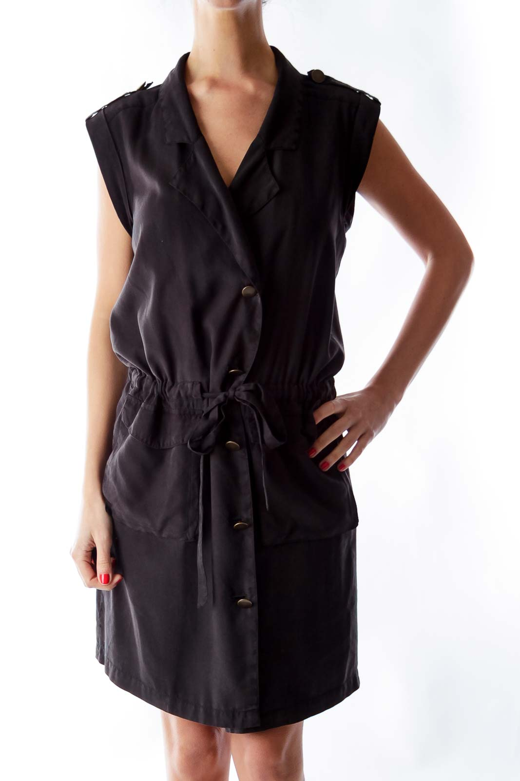 Black Silk Shirt Dress