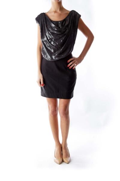 Black & Silver Draped Dress