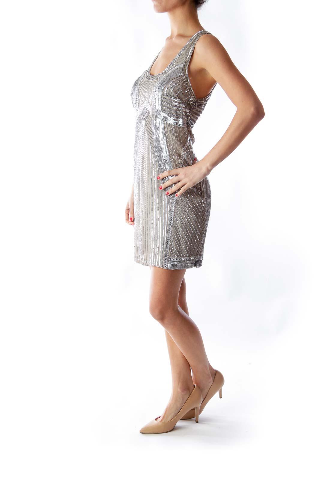 Silver Embellished Mini Dress
