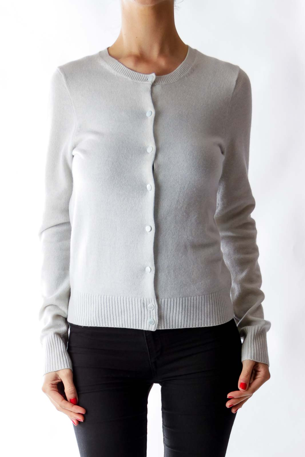 Light Blue Cashmere Cardigan [S] - SilkRoll