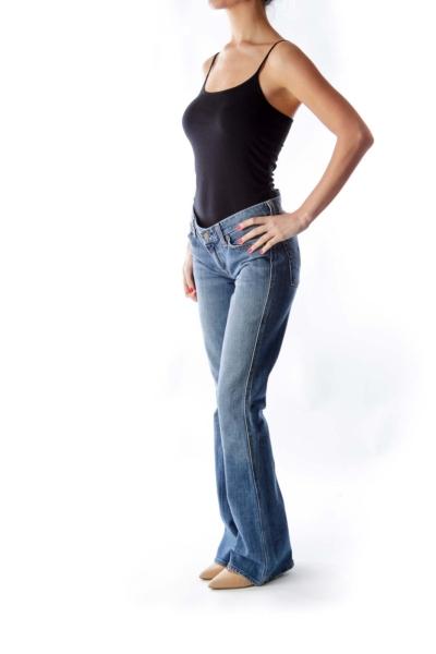 Light Blue Washed Flare Jeans