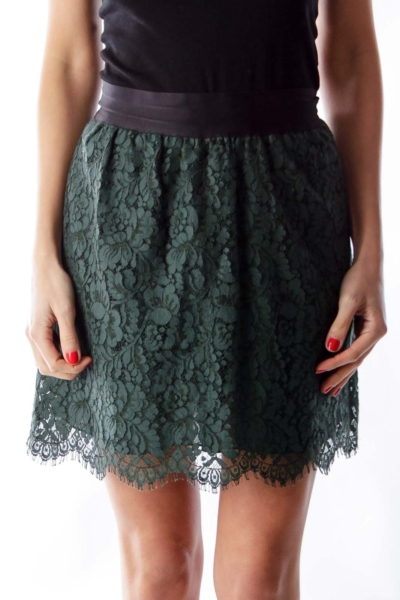 Forest Green Lace Skirt