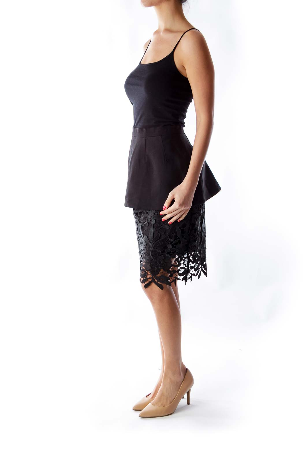 Black Peplum Lace Skirt