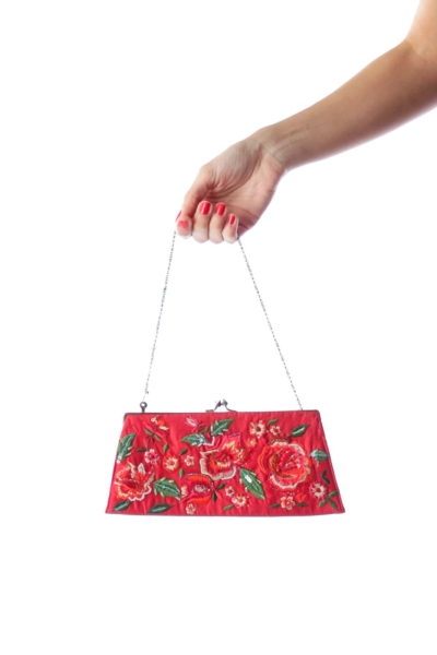 Red Embroidery Clutch