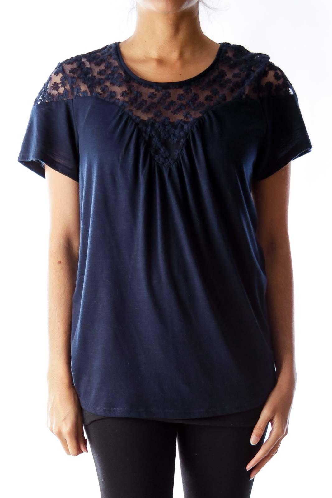 Navy Lace Detail Shirt