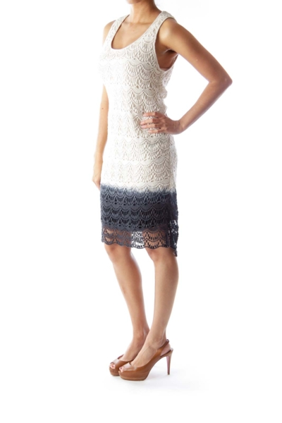 Beige & Blue Faded Crochet Dress