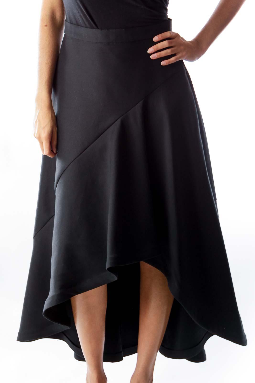 Black Ruffle Midi Skirt