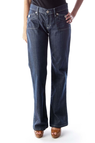 Blue Square Pocket Flare Jeans