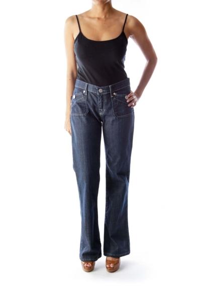 Blue Square Pocket Flare Jeans