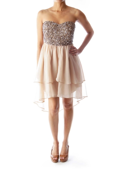 Beige Sequin Mini Dress