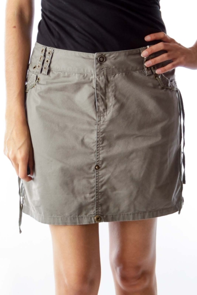 Army Green Studded Mini Skirt
