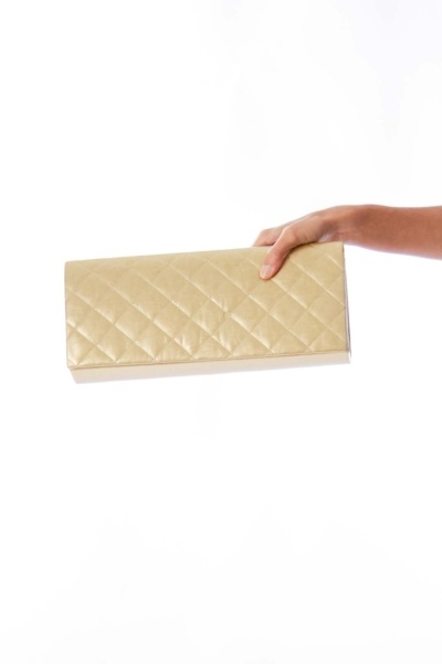Gold Quilted Clutch