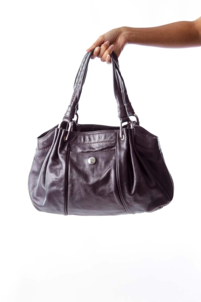 Plum Leather Shoulder Bag