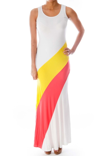 White Color Block Maxi Dress