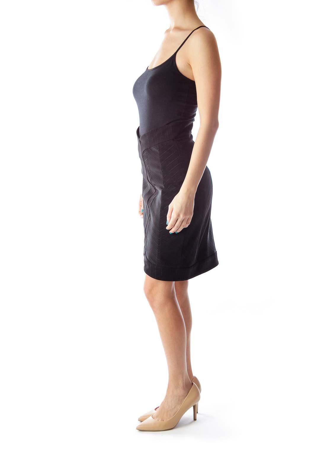 Black Metallic Pinstripe Skirt