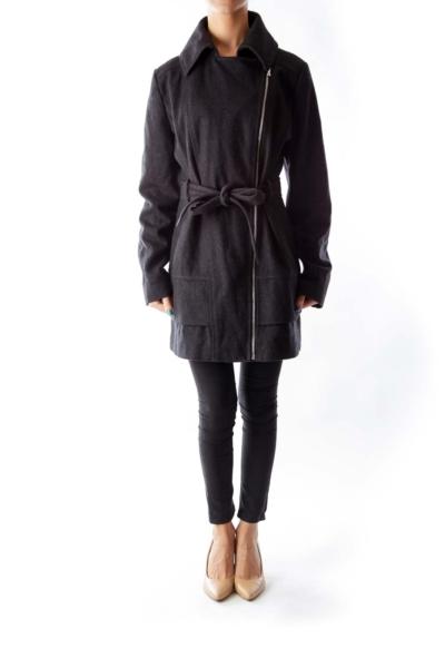 Dark Gray Zipper Coat