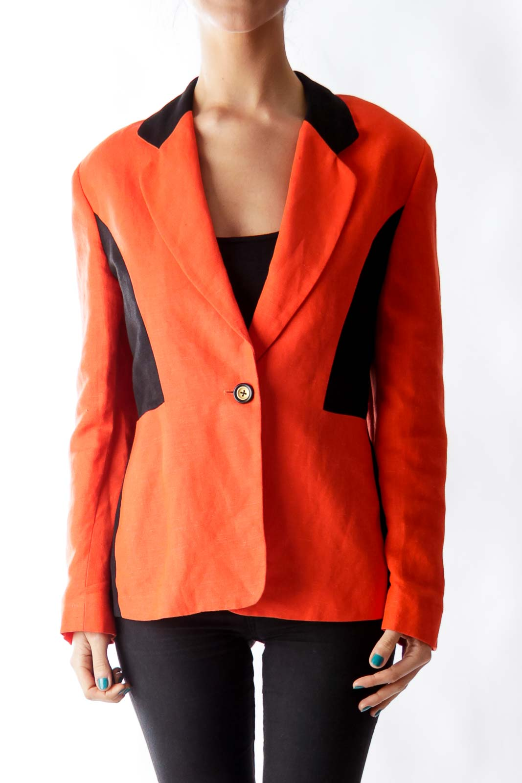 Orange & Black Linen Blazer