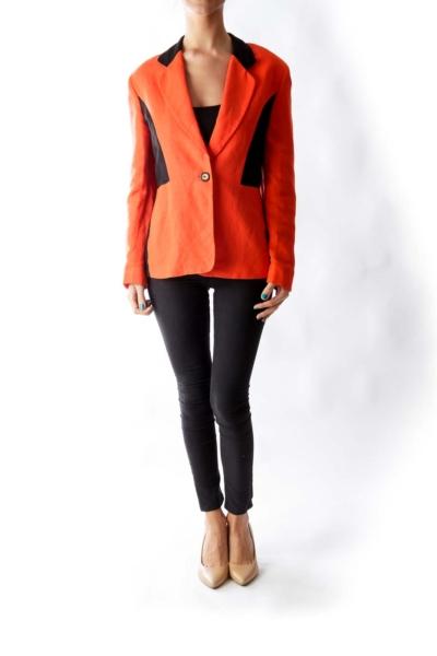 Orange & Black Linen Blazer