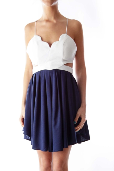 White & Blue Cutout Dress