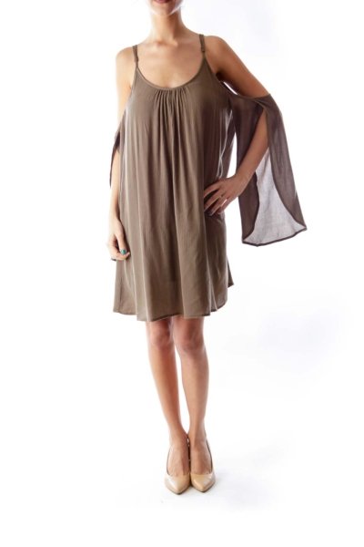 Army Green Open Shoulder Dress