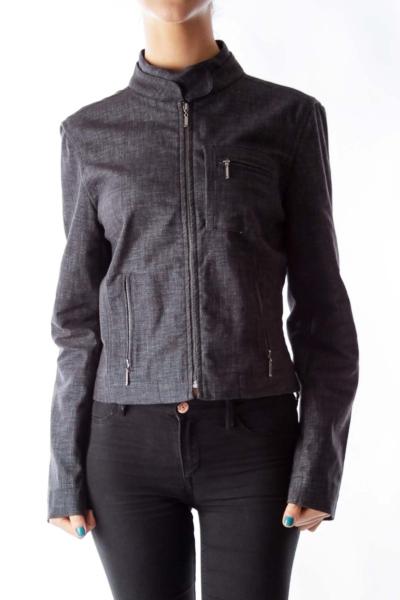 Gray Zippered Bomber Jacket