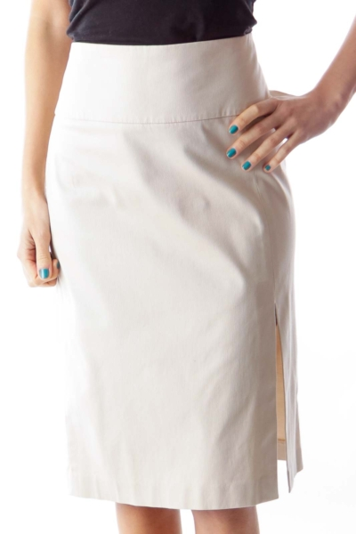 Beige Slit Midi Skirt
