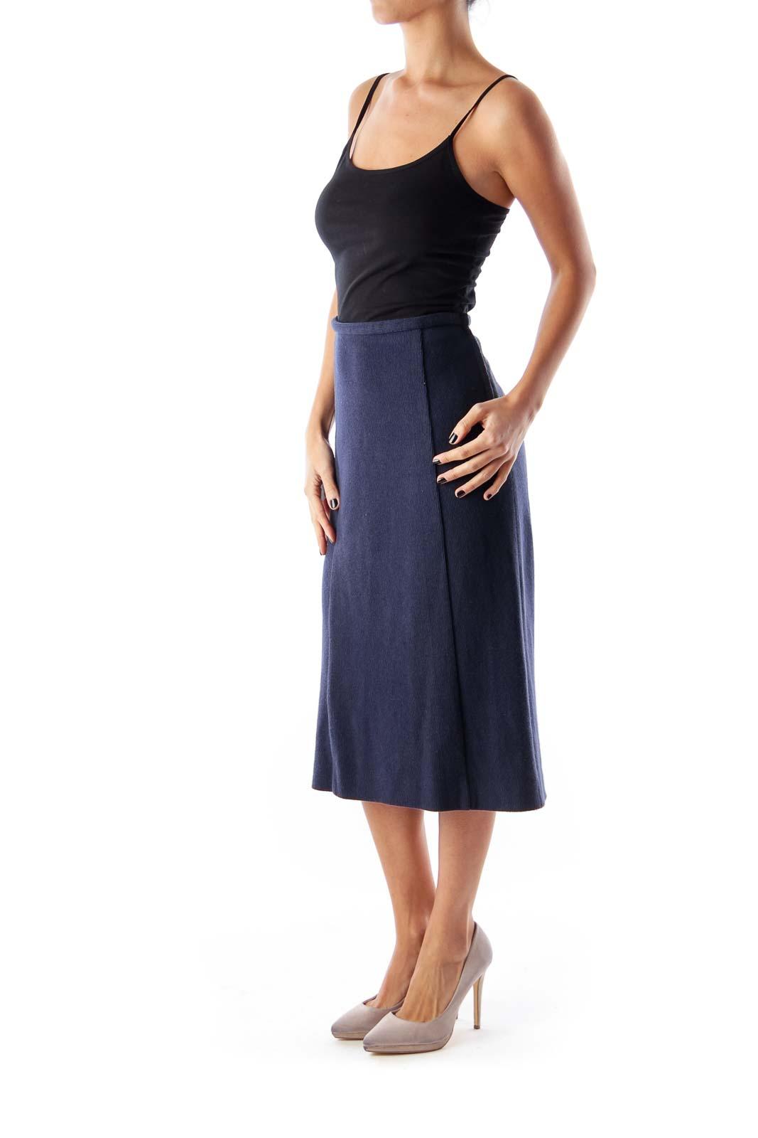 Navy Knit Pencil Skirt