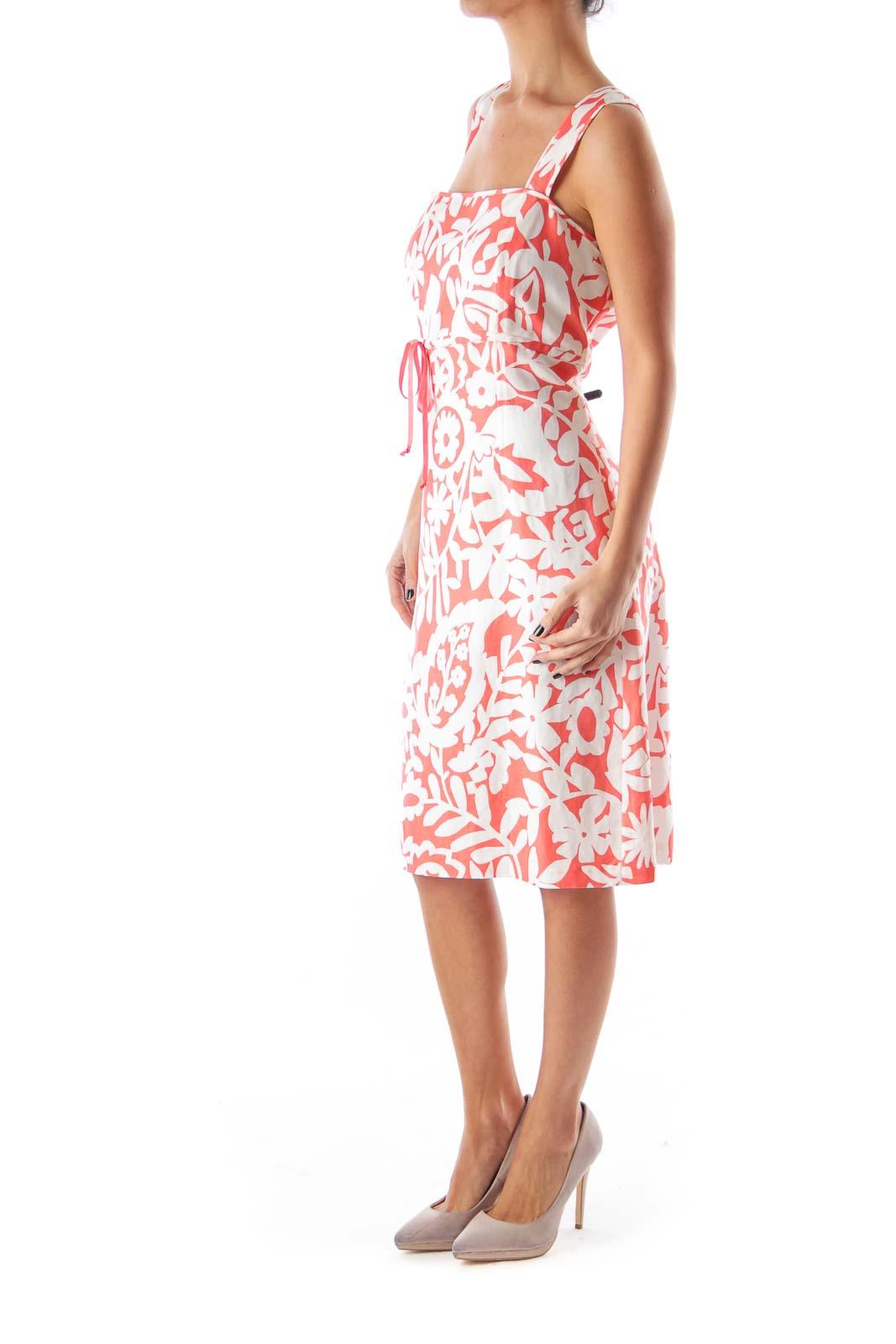 Orange Floral Print Dress