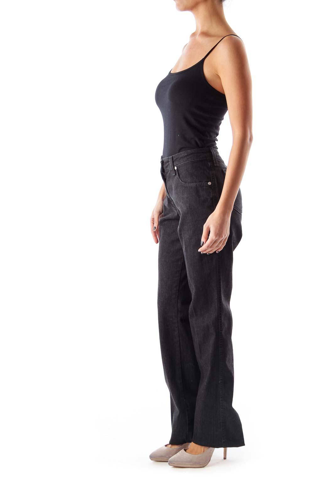 Black Mid-Waist Flare Jeans