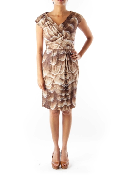 Brown & Beige Print Dress
