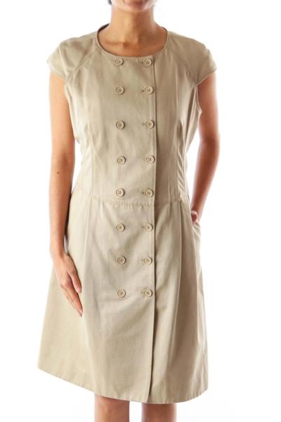 Khaki Button Up Dress