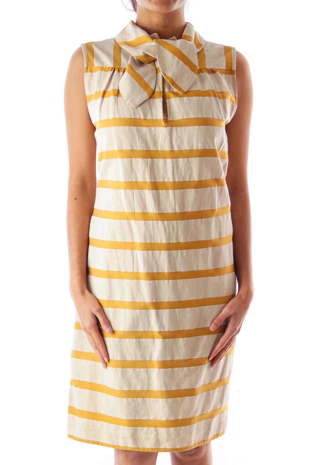 Yellow & Beige Stripe Dress