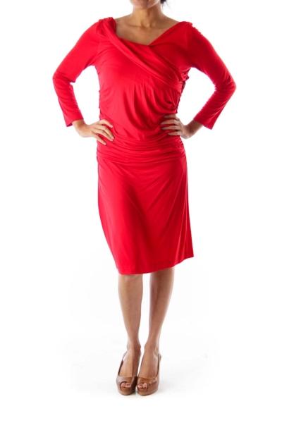 Red Side Ruffle Dress