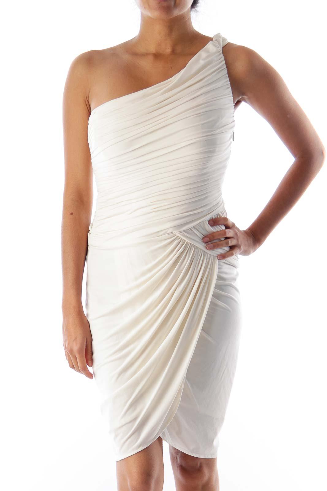 Beige One Shoulder Dress