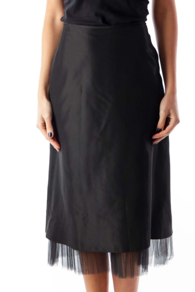 Black Tule Detail Skirt