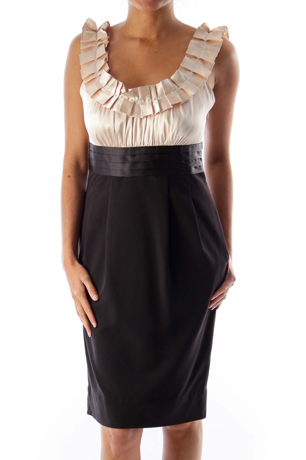 Beige & Black Ruffle Dress